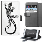 HAIRYWORM BLACK AND WHITE LIZARD TATTOO DELUXE LEATHER WALLET FLIP PHONE CASE
