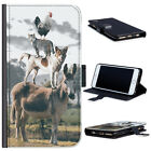 (BG0209) CHICKEN CAT DOG ON DONKEY DELUXE LEATHER PHONE CASE DELUXE COVER