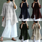 Plus Womens Batwing Sleeve Cotton Linen Irregular Loose Tops Casual Blouse Shirt