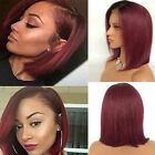 black hair with ombre red - Brazilian Human Hair Wig Bob Straight Lace Front Wig With Baby Hair Rooted Black