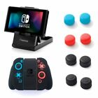 For Nintendo Switch Black Silicone JoyCon Case + Compact Playstand + Analog Caps