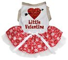 Little Valentine Gold White Cotton Top Red Snowflake Tutu Pet Dog Puppy Dress