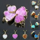 Druzy Geode Cluster Quartz Crystal Gemstone Heart LOVE Pendant Fit Necklace
