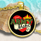 PROUD ARMY MOM Round Pendant Necklace, Gift for Army Moms, Mother's Day Gift