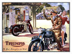 METAL VINTAGE SHABBY-CHIC TRIUMPH MOTORCYCLE TIN PLAQUE / FRIDGE MAGNET $12.38 USD on eBay
