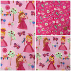 "Princess & hearts pink 100% cotton fabric sold per half metre 58 "" wide"