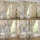 """FIRENZE Floral Printed Lined Ready Made 3"""" Tape Top Pencil Pleat Curtains Pair"""