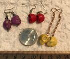 "EARRINGS-Beaded ""Turquoise"" Stone SKULL Skeleton-Lot of 3 PAIRS-Red,Yellow,Purpl"