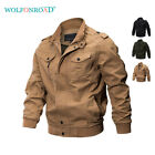 Mens Bomber Jackets Military Zipper Casual Work Jacket Army Coat Motorcycle Tops