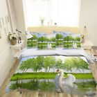 3D White Swan Lake 593 Bed Pillowcases Quilt Duvet Cover Set Single Queen US