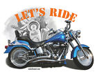 HARLEY DAVICSON T-SHIRT Fatboy Motorcycle *LET'S RIDE*