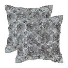 2PCS Square Pillow Throw Cushion Covers Cases Solid Stereo Roses Floral