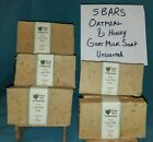 5 BARS OATMEAL HONEY UNSCENTED GOAT MILK SOAP RICH VEGETABLE OIL HANDMADE IN USA