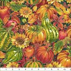 "FABRI-QUILT ""HARVEST MASTER"" 112-30851 FALL AUTUMN PUMPKINS FABRIC (SELECT SIZE)"