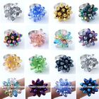 Womens Flower Teardrop Crystal Glass Bead Finger Ring Us7.5 Adjust Fashion Party