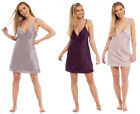 Ladies Womens Chemise Satin Nightie Summer Silky Nightdress Plain Lace Cami