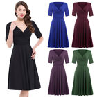 Clearance! Women's Vintage Casual Solid Color Short Sleeve V-Neck Party Dresses