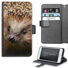 Brown Hedgehog Phone Case, PU Leather Side Flip Phone Cover For Apple/Samsung
