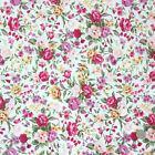 Pink roses floral 100% COTTON 112cm wide per FQ/Half metre craft/sewing fabric