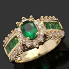 New Brand Emerald 18K Gold Filled Lady's Engagement Rings Size Gift Size 7-11