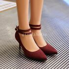 Women's Sexy Double Ankle Strap Pointy Toes Stilettos Mid Heel Pumps Party Shoes
