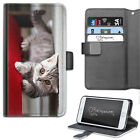 HAIRYWORM ANIMAL GREY KITTEN CAT LEATHER WALLET PHONE CASE, FLIP CASE, COVER