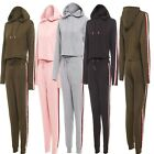 New Ladies Crop Hooded Top& Bottom Jogger Tracksuit Side Strips Lounge Wear Suit