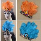 Ostrich Feather Headband Headdress Gemstone Headpiece Crown Hat Party Show