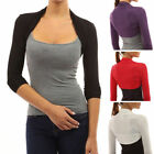 Womens Long Sleeved Bolero Shrug Ladies Plain Cropped Cardigan Jersey Top