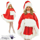 Ladies Deluxe Warm Christmas Santa Claus Cape Fancy Dress Costume Hat Hand Muff