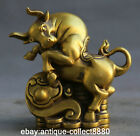 "5.5""Chinese Bronze Gild 12 Zodiac Animal Ox Oxen Wealth Yuanbao Ruyi Coin Statue"