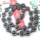 """12mm Black Coin Hematite Natural Stone Fashion Necklace Jewelry 17.5"""" Women Gift"""