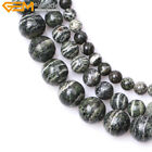 "Natural Round Dark Green Zebra Jasper Gemstone Beads For Jewelry Making 15"" DIY"