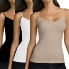 3pk Seamless Camisoles For Women Spaghetti Strap Cami Tank Top Black White Beige