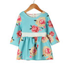 Mom&Me Women Girls Floral Print Sundress Long Sleeve Splice Dress Family Clothes