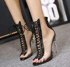Womens Open Toe Lace Up Transparent Back Zip Shoes High Heel Crystal Shoes Boots