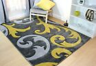 SMALL - EXTRA LARGE SILVER GREY / OCHRE MUSTARD YELLOW CARVED DAMASK ELUDE RUG