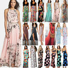 Womens Boho Floral Long Maxi Dress Cocktail Party Evening Su