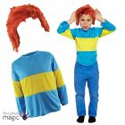 Childs Blue Yellow Striped Book Week Horrid Henry Jumper Fancy Dress Costume Wig
