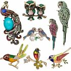 Parrot Bird Owl Peacock Animal Pearl Crystal Shell Womens Brooch Pin Jewellery
