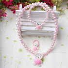 Pink White Children Girls Princess Beads Necklace&Bracelet&Ring Set Jewelry Gift