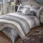 HEIDI Crushed Velvet Band Glitter Shimmer Duvet Cover Set Bedding Range Mink image