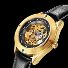 KS Mens Creative Stainless Steel Analog Mechanical Leather Band Wrist Watch Gift