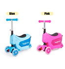 3in1 Girls Boys Kids Tri Folding Scooter Push 3 Wheel Ride On With Storage Box