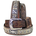 "32 -46"" 1 1/2"" 3D BROWN MENS SILVER CONCHO WESTERN FASHION LEATHER HAIR ON BELT"