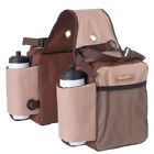 TOUGH-1 NYLON HEAVY DUTY SADDLE BAG INSULATED WATER BOTTLE GEAR HOLDER BROWN TAN