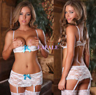 Plus Size Lingerie Sexy White Lace Open Bust Top Bra Wired G-string + Suspenders
