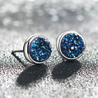 1Pair Fashion Punk Glitter Resin Stone Drusy Ear Stud Earring Party Gift Jewelry