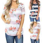 Women's Short Sleeve Floral Striped Shirts Summer Sexy Casual Blouse Top T Shirt