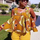 Womens African Print Sleeveless Off Shoulder Tops Strapless Loose Blouse T Shirt